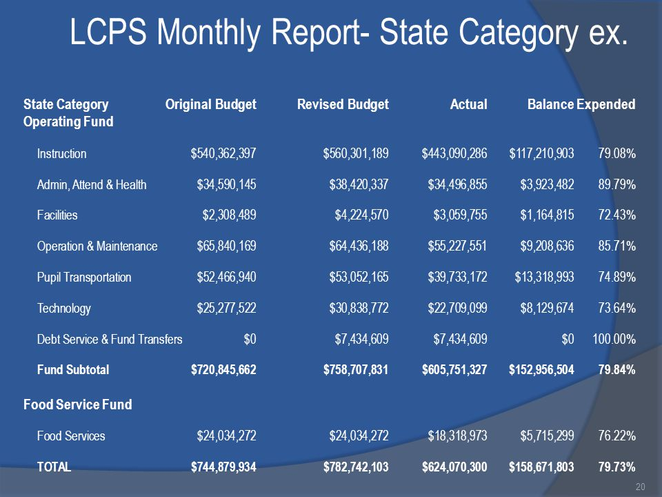 LCPS Monthly Report- State Category ex.