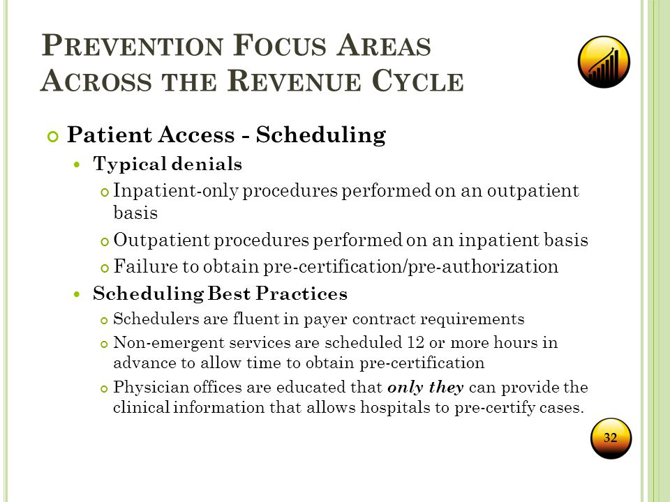 P REVENTION F OCUS A REAS A CROSS THE R EVENUE C YCLE Patient Access - Scheduling Typical denials Inpatient-only procedures performed on an outpatient basis Outpatient procedures performed on an inpatient basis Failure to obtain pre-certification/pre-authorization Scheduling Best Practices Schedulers are fluent in payer contract requirements Non-emergent services are scheduled 12 or more hours in advance to allow time to obtain pre-certification Physician offices are educated that only they can provide the clinical information that allows hospitals to pre-certify cases.