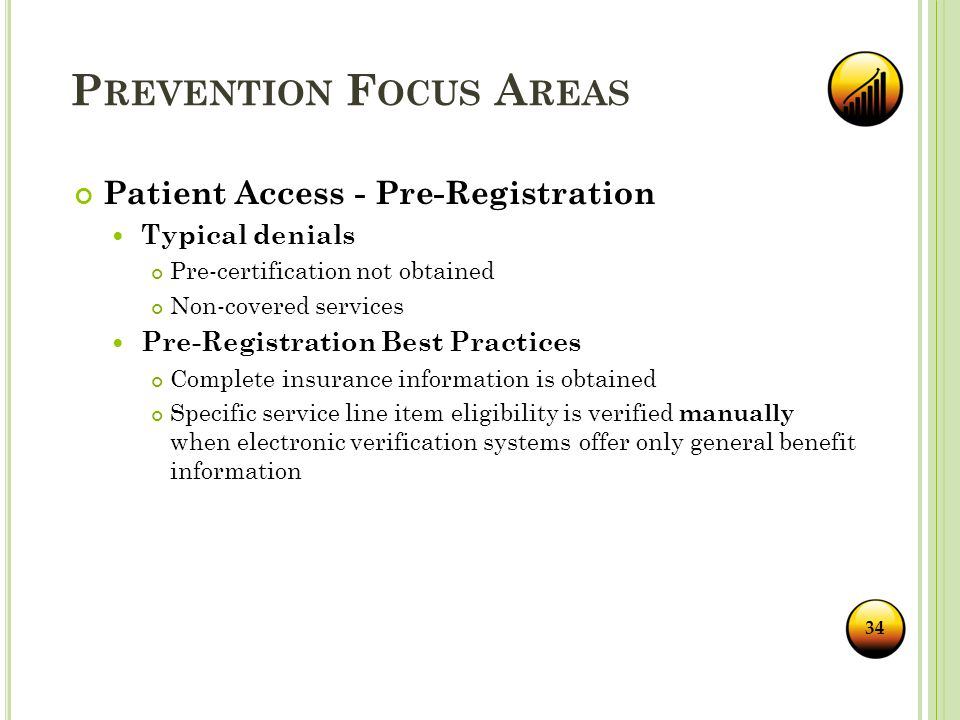 P REVENTION F OCUS A REAS Patient Access - Pre-Registration Typical denials Pre-certification not obtained Non-covered services Pre-Registration Best Practices Complete insurance information is obtained Specific service line item eligibility is verified manually when electronic verification systems offer only general benefit information 34