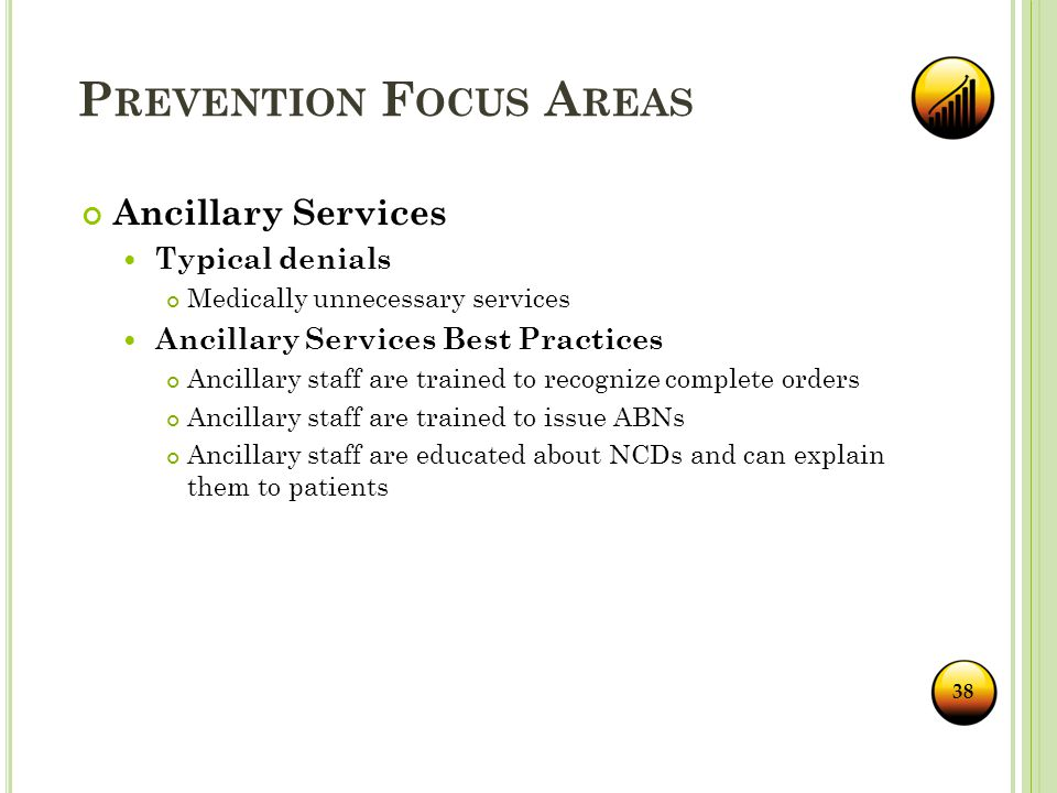 P REVENTION F OCUS A REAS Ancillary Services Typical denials Medically unnecessary services Ancillary Services Best Practices Ancillary staff are trained to recognize complete orders Ancillary staff are trained to issue ABNs Ancillary staff are educated about NCDs and can explain them to patients 38