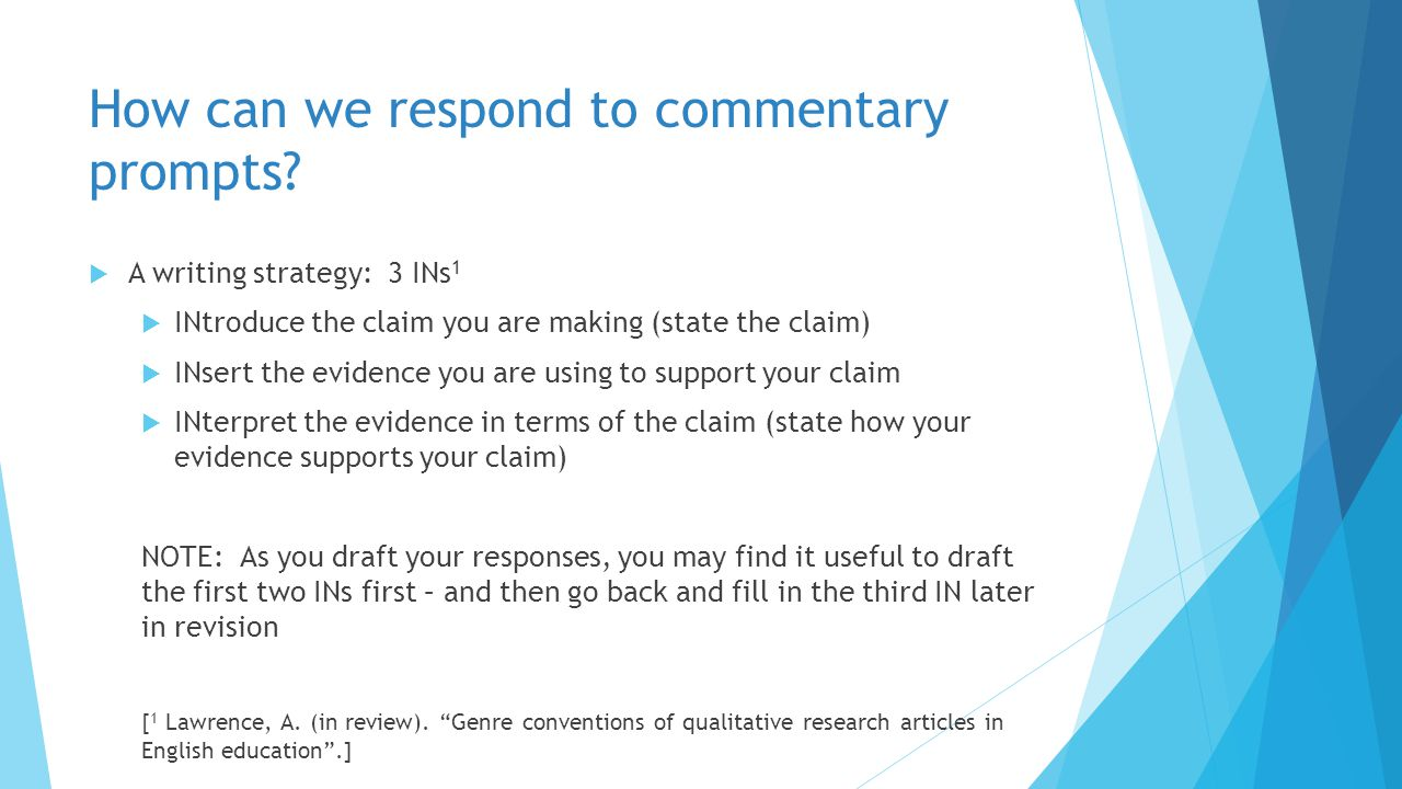 How can we respond to commentary prompts.