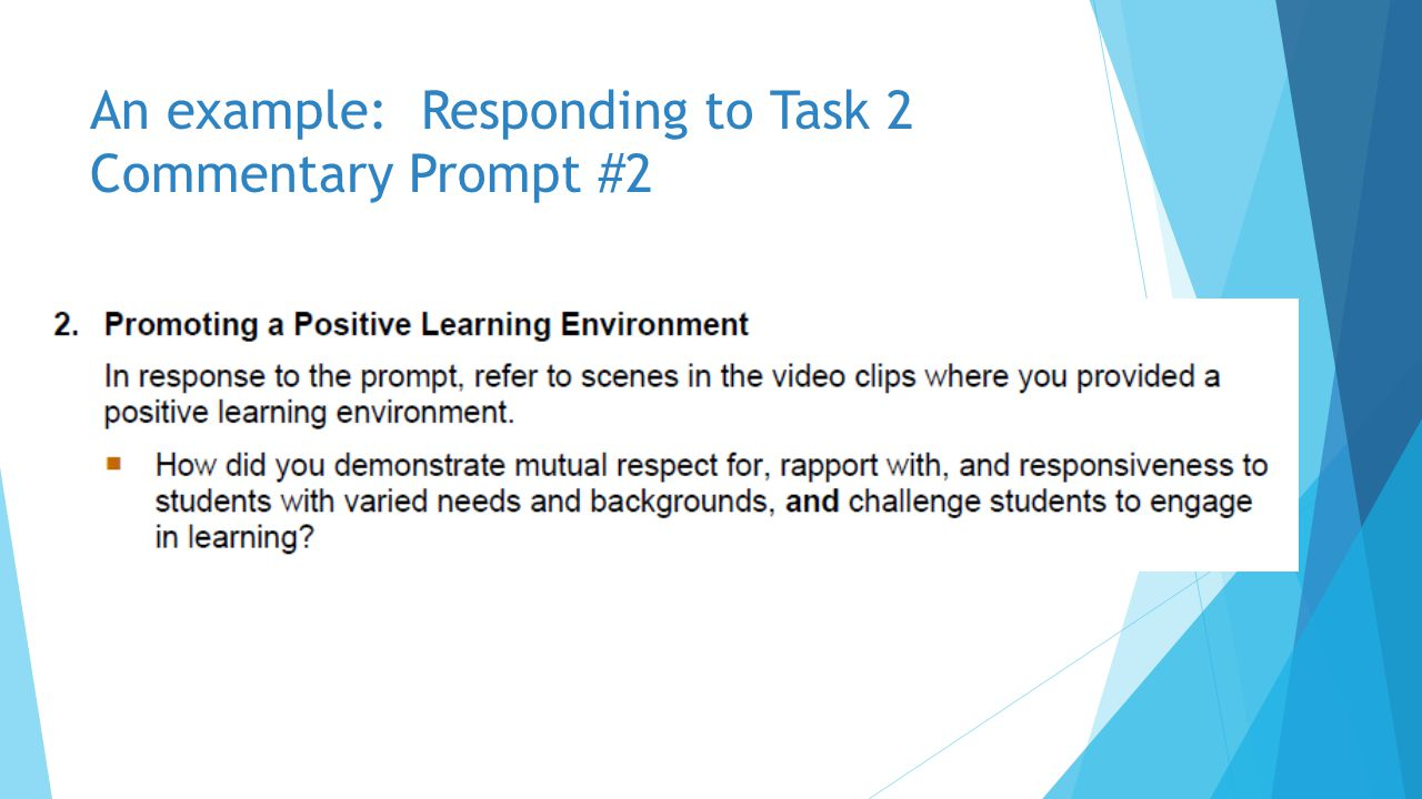 An example: Responding to Task 2 Commentary Prompt #2