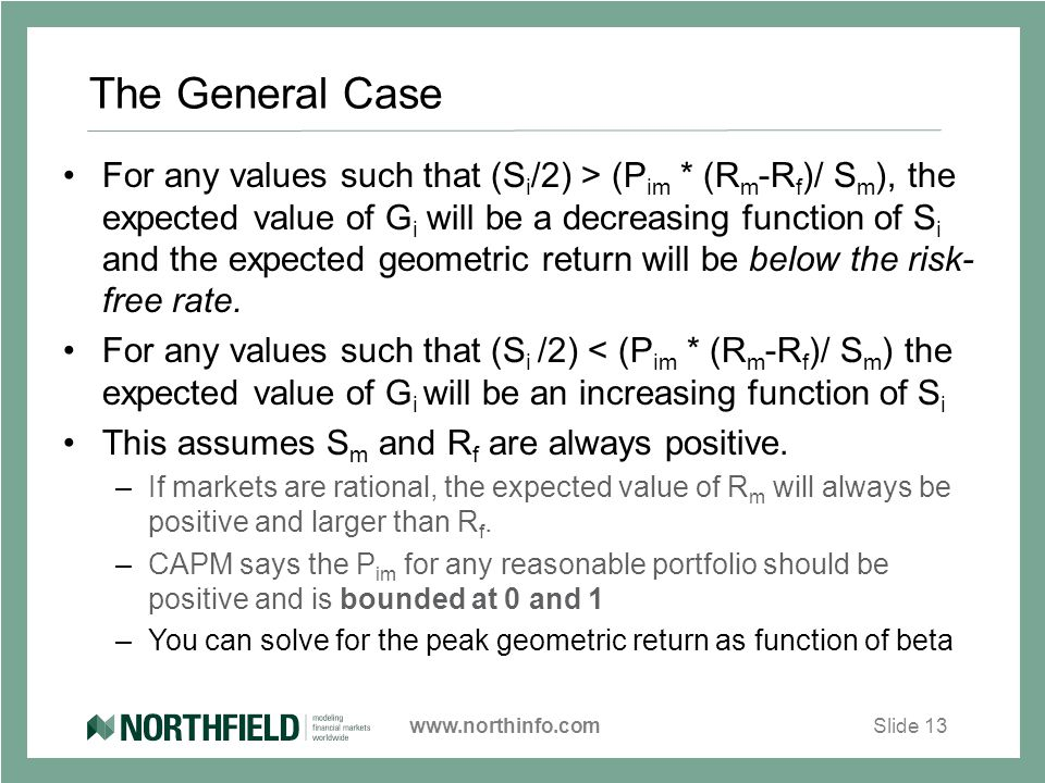 www.northinfo.comSlide 13 The General Case For any values such that (S i /2) > (P im * (R m -R f )/ S m ), the expected value of G i will be a decreasing function of S i and the expected geometric return will be below the risk- free rate.