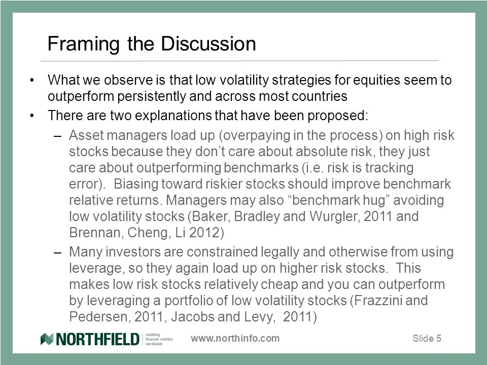 www.northinfo.comSlide 5 Framing the Discussion What we observe is that low volatility strategies for equities seem to outperform persistently and across most countries There are two explanations that have been proposed: –Asset managers load up (overpaying in the process) on high risk stocks because they don't care about absolute risk, they just care about outperforming benchmarks (i.e.