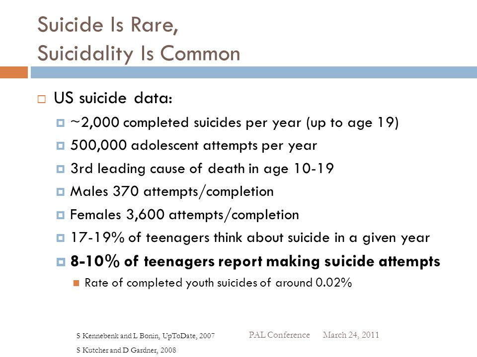 Suicide Is Rare, Suicidality Is Common  US suicide data:  ~2,000 completed suicides per year (up to age 19)  500,000 adolescent attempts per year 