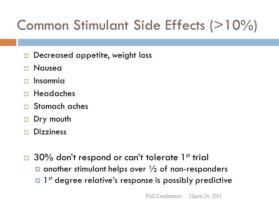 Dealing With Common Side Effects  If good response, often work around them  Rebound longer acting doses or small PM short acting.