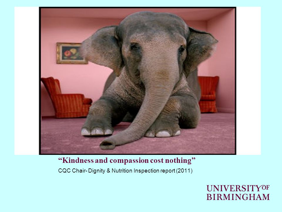 Kindness and compassion cost nothing CQC Chair- Dignity & Nutrition Inspection report (2011)