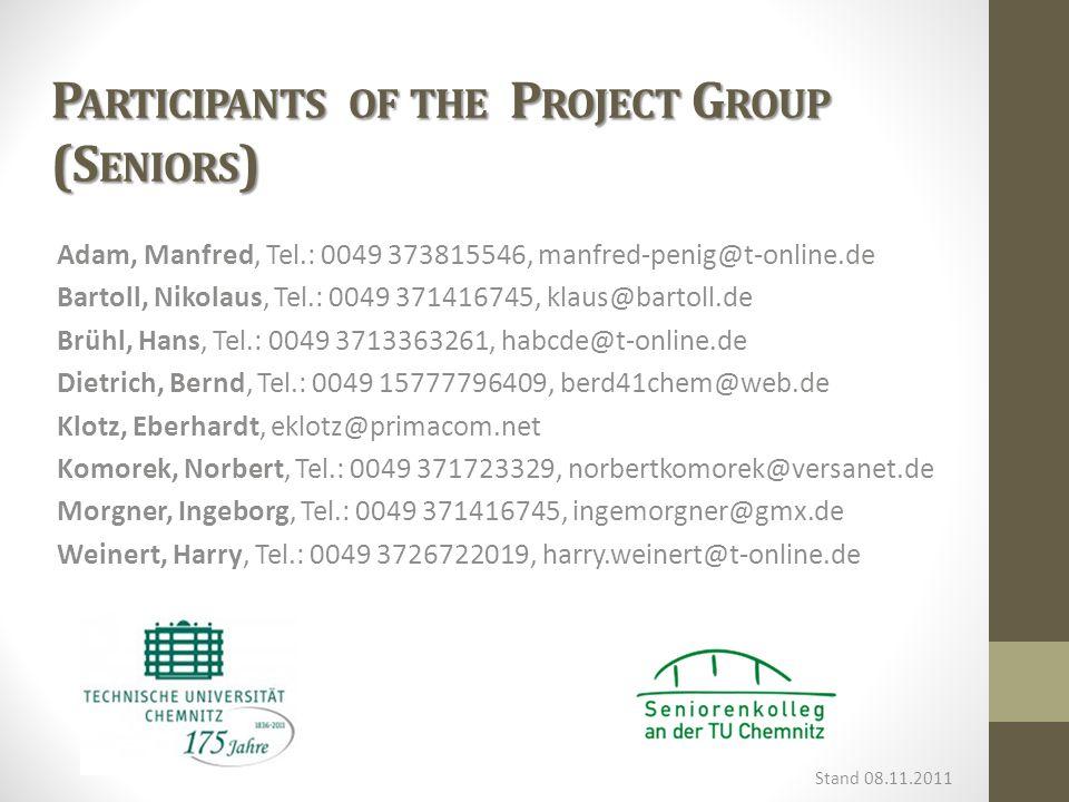 P ARTICIPANTS OF THE P ROJECT G ROUP (S ENIORS ) Adam, Manfred, Tel.: 0049 373815546, manfred-penig@t-online.de Bartoll, Nikolaus, Tel.: 0049 371416745, klaus@bartoll.de Brühl, Hans, Tel.: 0049 3713363261, habcde@t-online.de Dietrich, Bernd, Tel.: 0049 15777796409, berd41chem@web.de Klotz, Eberhardt, eklotz@primacom.net Komorek, Norbert, Tel.: 0049 371723329, norbertkomorek@versanet.de Morgner, Ingeborg, Tel.: 0049 371416745, ingemorgner@gmx.de Weinert, Harry, Tel.: 0049 3726722019, harry.weinert@t-online.de Stand 08.11.2011