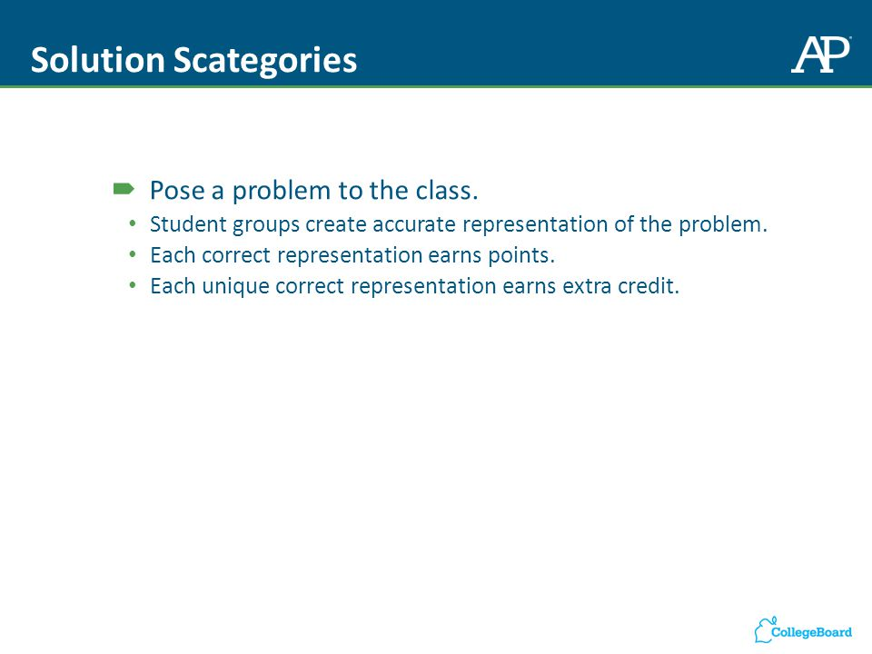Solution Scategories  Pose a problem to the class.