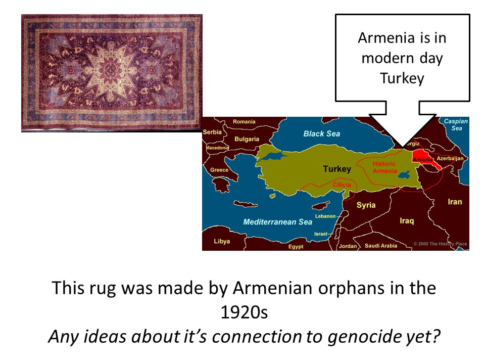 This rug was made by Armenian orphans in the 1920s Any ideas about it's connection to genocide yet.