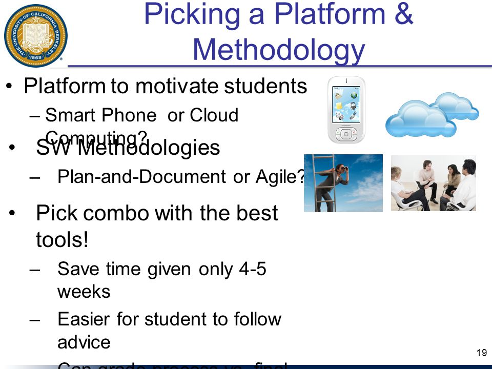 Picking a Platform & Methodology Platform to motivate students –Smart Phone or Cloud Computing.