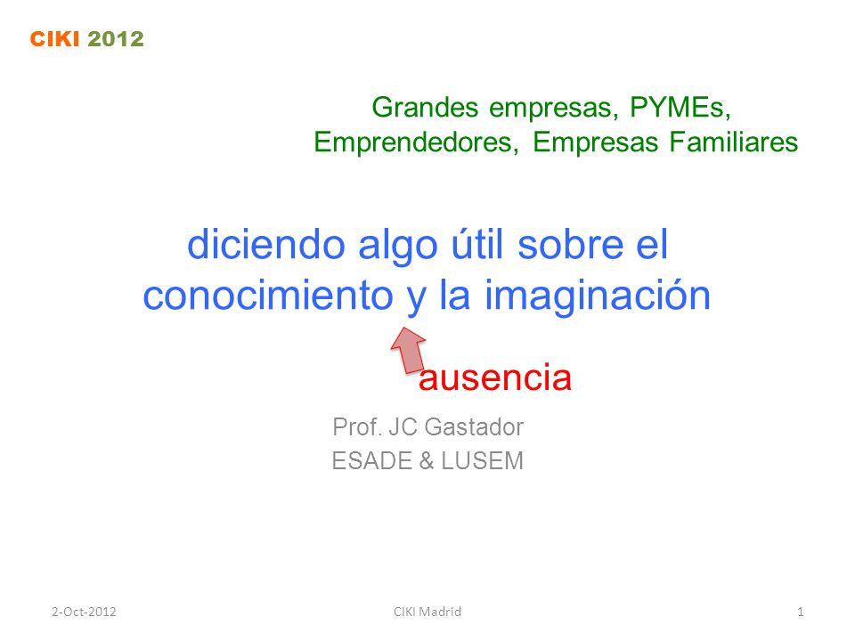 diciendo algo útil sobre el conocimiento y la imaginación Prof.