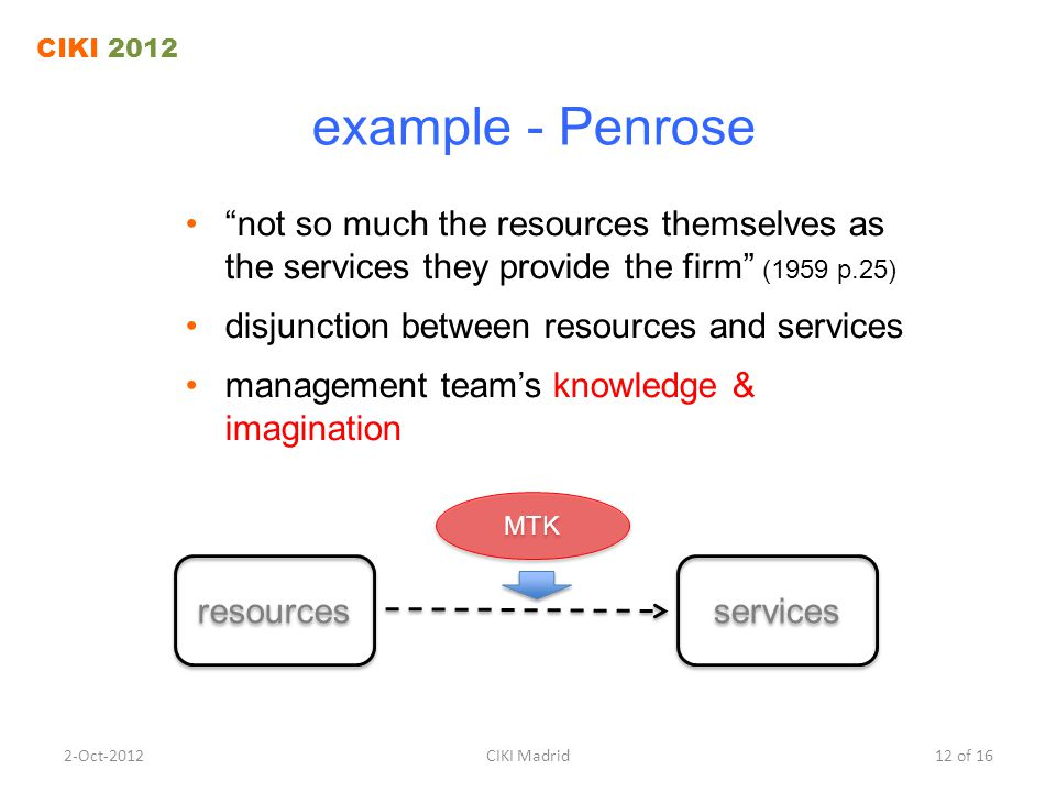 """example - Penrose """"not so much the resources themselves as the services they provide the firm"""" (1959 p.25) disjunction between resources and services"""