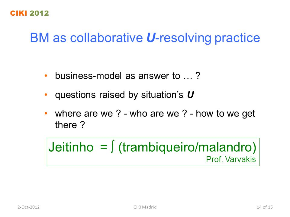 BM as collaborative U-resolving practice business-model as answer to … .