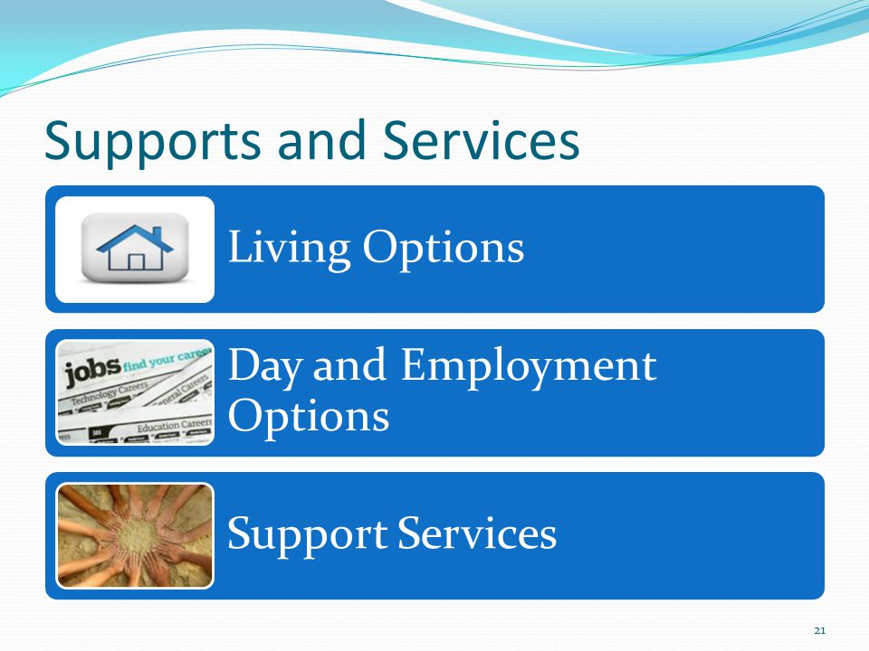 Supports and Services Living Options Day and Employment Options Support Services 21