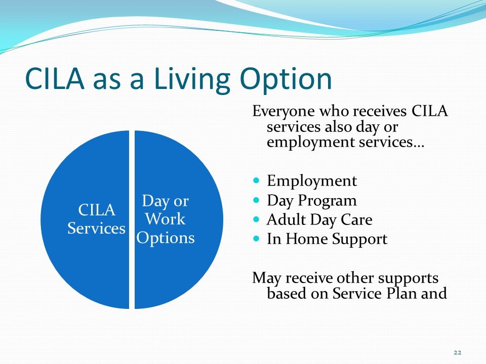CILA as a Living Option Day or Work Options CILA Services Everyone who receives CILA services also day or employment services… Employment Day Program Adult Day Care In Home Support May receive other supports based on Service Plan and 22