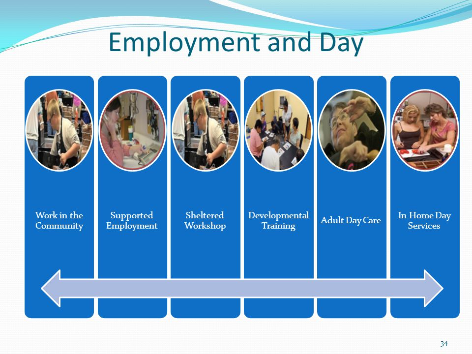 Employment and Day Work in the Community Supported Employment Sheltered Workshop Developmental Training Adult Day Care In Home Day Services 34