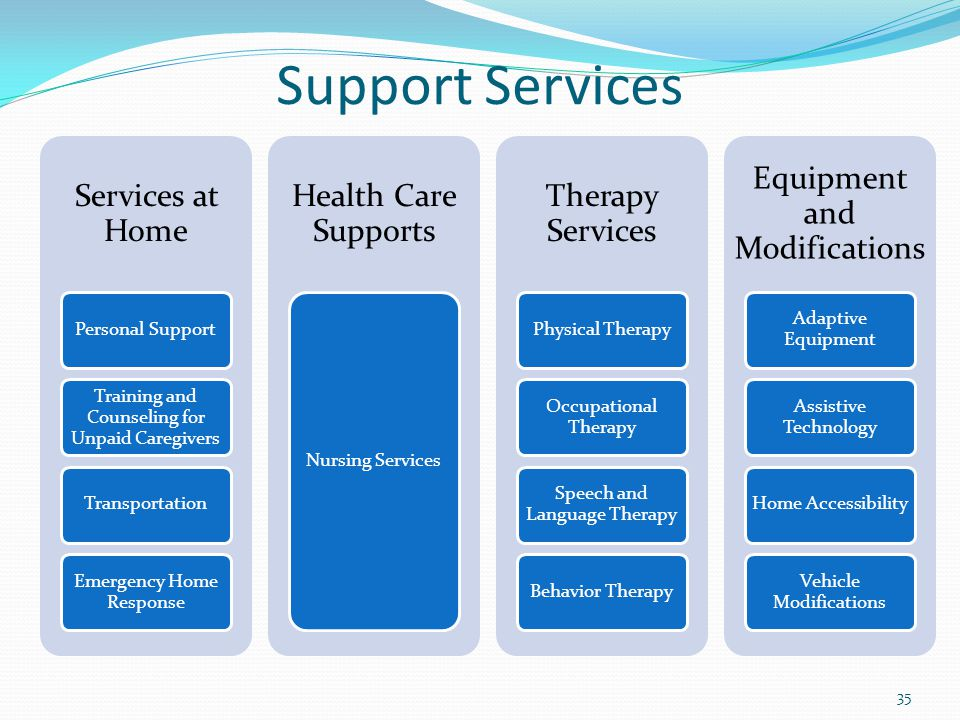 Support Services Services at Home Personal Support Training and Counseling for Unpaid Caregivers Transportation Emergency Home Response Health Care Su
