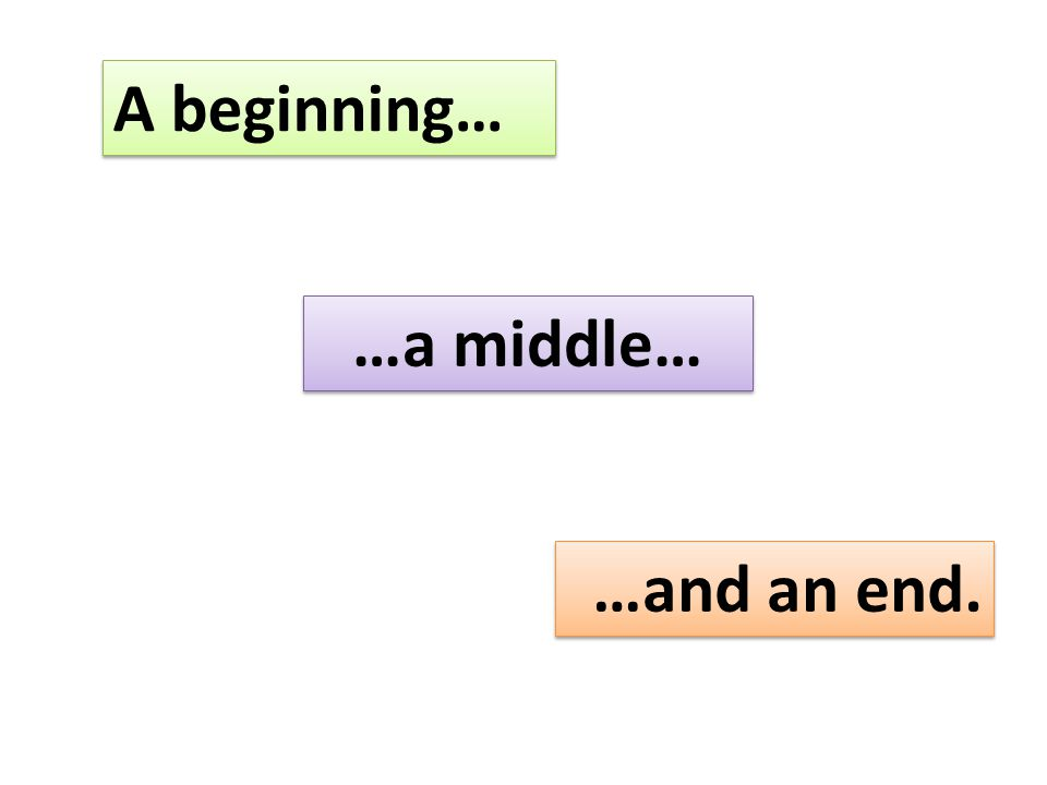 A beginning… …a middle… …and an end.