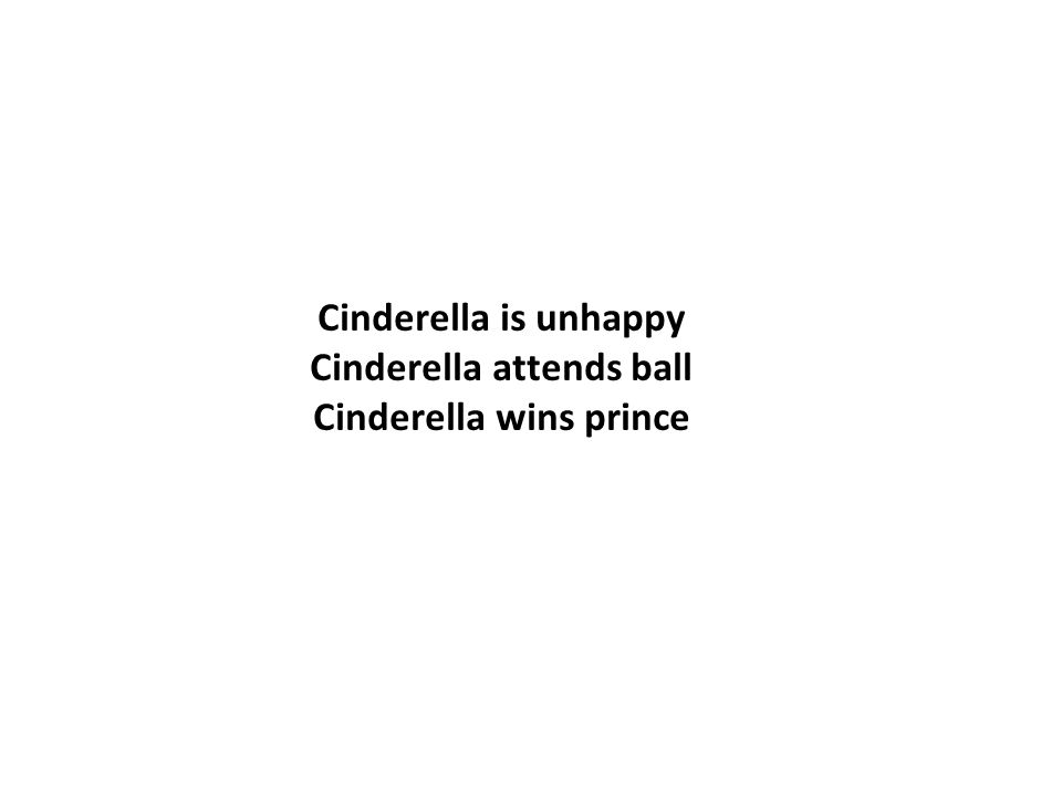 Cinderella is unhappy Cinderella attends ball Cinderella wins prince