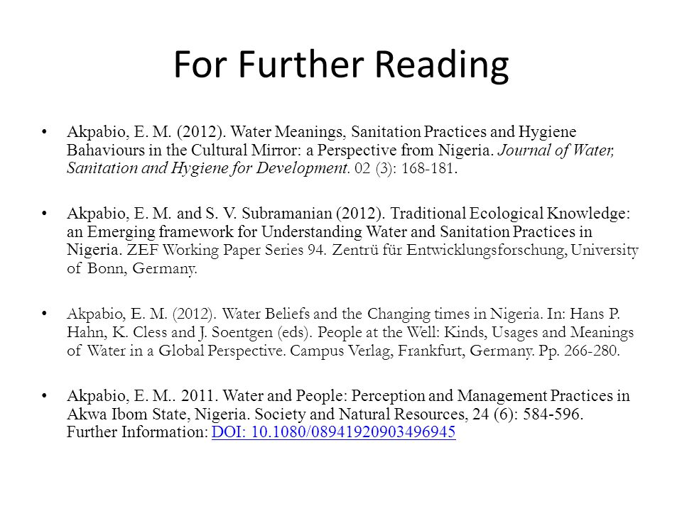 For Further Reading Akpabio, E. M. (2012).