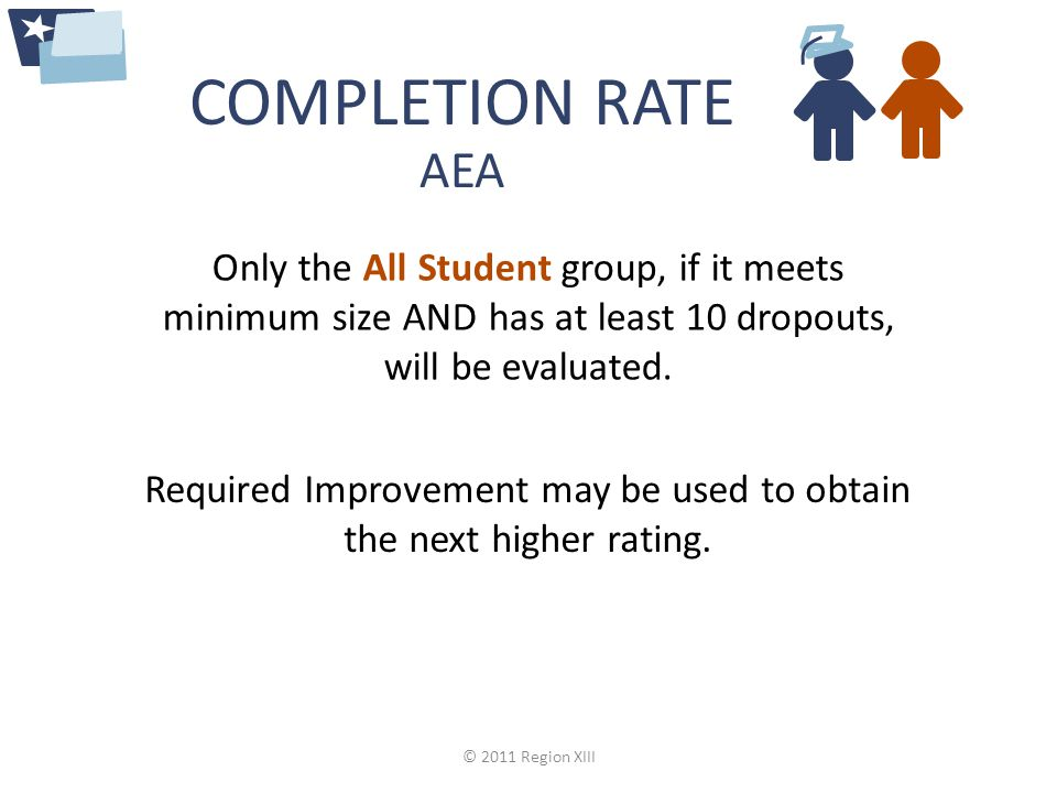 COMPLETION RATE Required Improvement may be used to obtain the next higher rating.