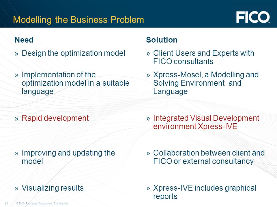 © 2010 Fair Isaac Corporation. Confidential. 23 Modelling the Business Problem Need »Design the optimization model »Implementation of the optimization