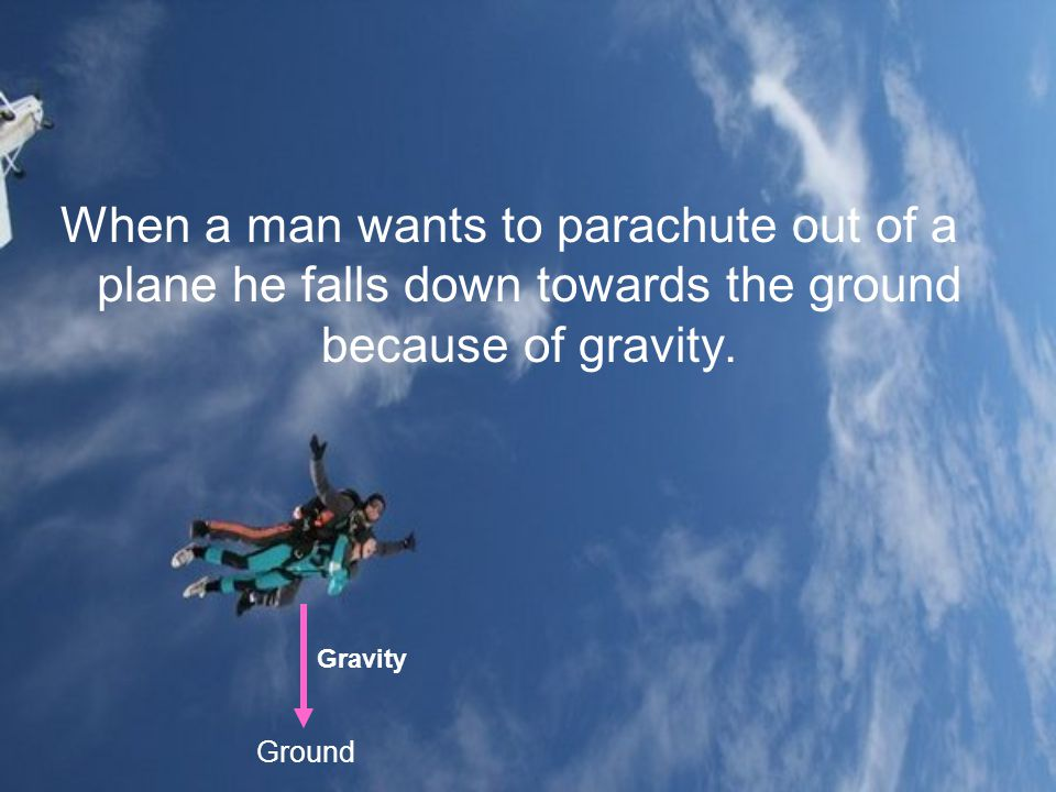 When a man wants to parachute out of a plane he falls down towards the ground because of gravity. Ground Gravity