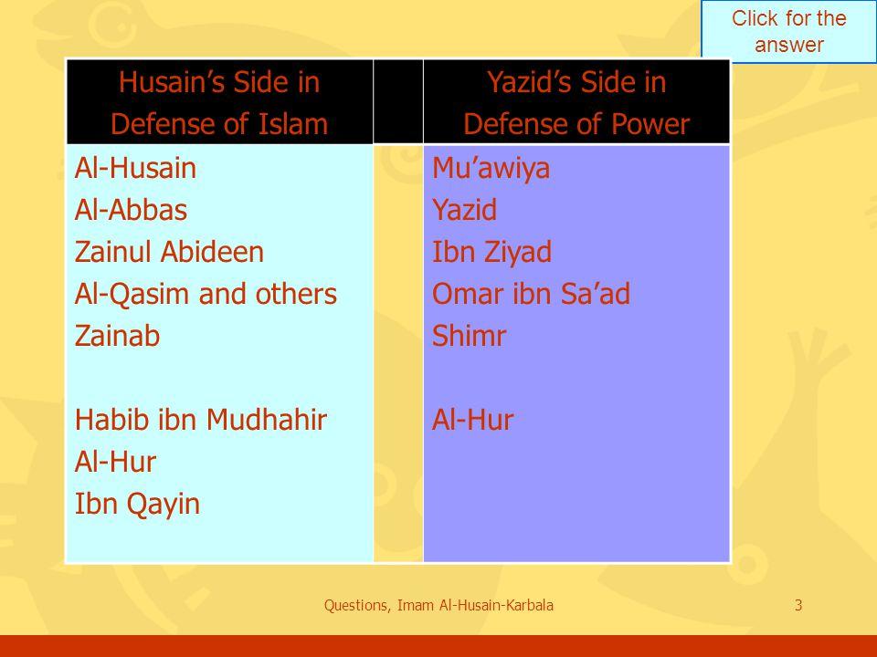 Click for the answer Questions, Imam Al-Husain-Karbala3 Husain's Side in Defense of Islam Yazid's Side in Defense of Power Al-Husain Al-Abbas Zainul Abideen Al-Qasim and others Zainab Habib ibn Mudhahir Al-Hur Ibn Qayin Mu'awiya Yazid Ibn Ziyad Omar ibn Sa'ad Shimr Al-Hur