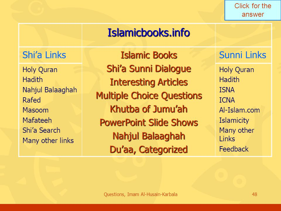 Click for the answer Questions, Imam Al-Husain-Karbala48 Islamicbooks.info Shi'a Links Islamic Books Shi'a Sunni Dialogue Interesting Articles Multiple Choice Questions Khutba of Jumu'ah PowerPoint Slide Shows Nahjul Balaaghah Du'aa, Categorized Sunni Links Holy Quran Hadith Nahjul Balaaghah Rafed Masoom Mafateeh Shi'a Search Many other links Holy Quran Hadith ISNA ICNA Al-Islam.com Islamicity Many other Links Feedback