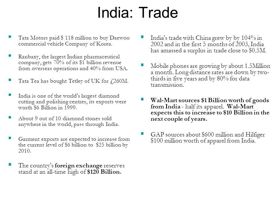 India: Trade  Tata Motors paid $ 118 million to buy Daewoo commercial vehicle Company of Korea.