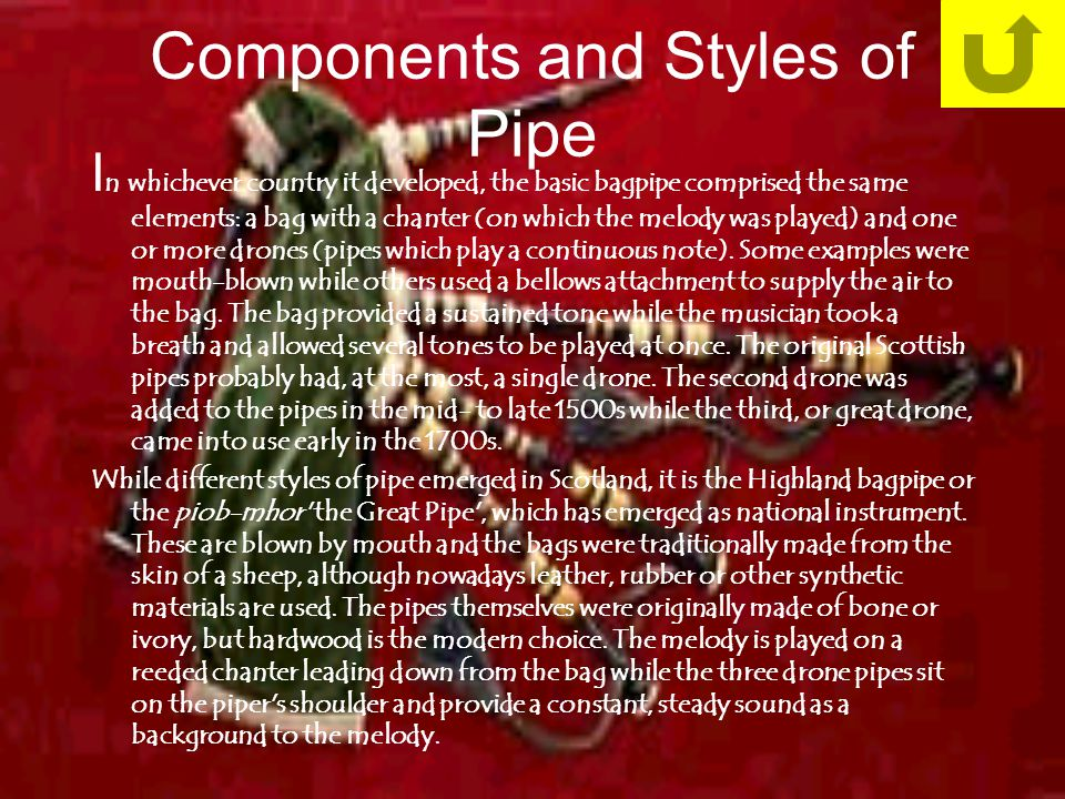 Components and Styles of Pipe I n whichever country it developed, the basic bagpipe comprised the same elements: a bag with a chanter (on which the melody was played) and one or more drones (pipes which play a continuous note).