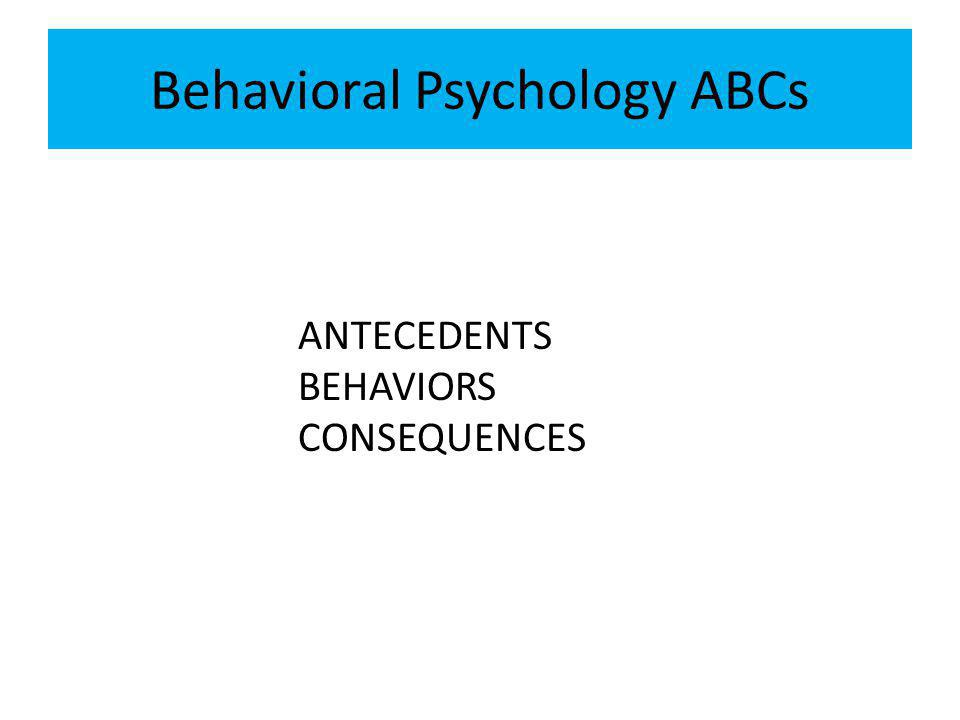 Behavioral Psychology ABCs ANTECEDENTS BEHAVIORS CONSEQUENCES