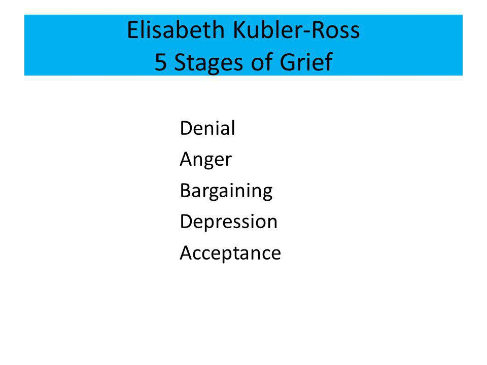 Elisabeth Kubler-Ross 5 Stages of Grief Denial Anger Bargaining Depression Acceptance
