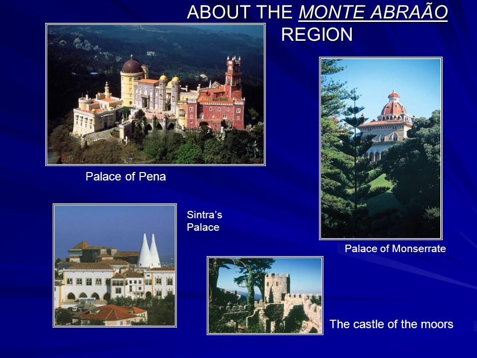 ABOUT THE MONTE ABRAÃO REGION Palace of Pena Palace of Monserrate Sintra's Palace The castle of the moors