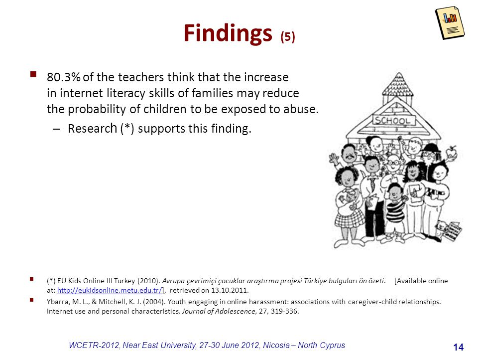14 WCETR-2012, Near East University, 27-30 June 2012, Nicosia – North Cyprus Findings (5)  80.3% of the teachers think that the increase in internet literacy skills of families may reduce the probability of children to be exposed to abuse.