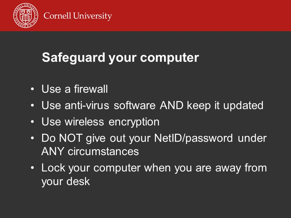 Safeguard your computer Use a firewall Use anti-virus software AND keep it updated Use wireless encryption Do NOT give out your NetID/password under ANY circumstances Lock your computer when you are away from your desk