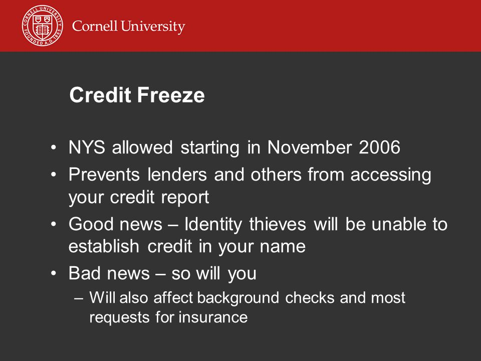 Credit Freeze NYS allowed starting in November 2006 Prevents lenders and others from accessing your credit report Good news – Identity thieves will be unable to establish credit in your name Bad news – so will you –Will also affect background checks and most requests for insurance