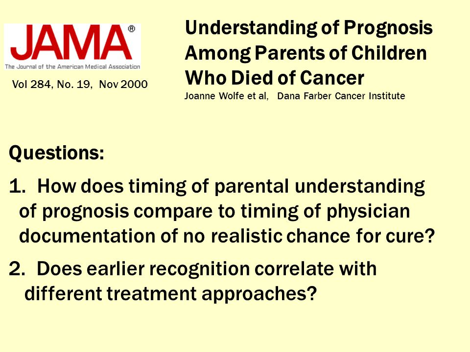 Understanding of Prognosis Among Parents of Children Who Died of Cancer Joanne Wolfe et al, Dana Farber Cancer Institute Vol 284, No. 19, Nov 2000 Que