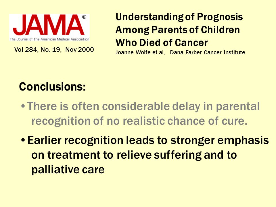 Understanding of Prognosis Among Parents of Children Who Died of Cancer Joanne Wolfe et al, Dana Farber Cancer Institute Vol 284, No. 19, Nov 2000 Con