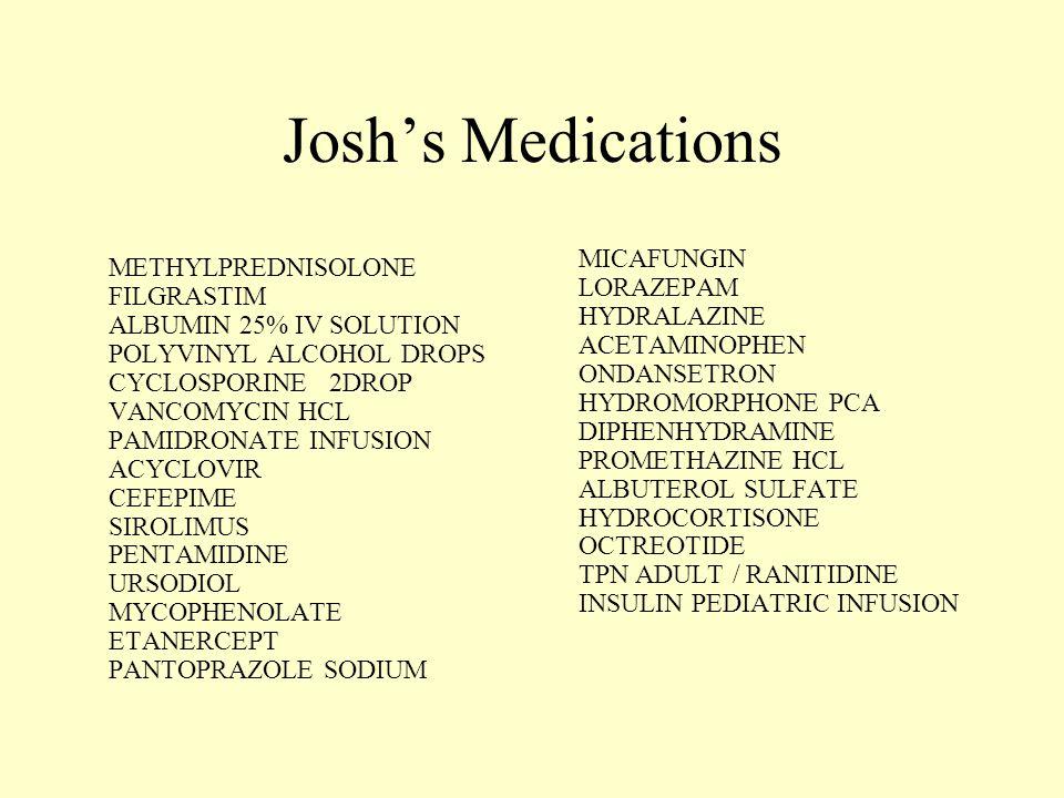 Josh's Medications MICAFUNGIN LORAZEPAM HYDRALAZINE ACETAMINOPHEN ONDANSETRON HYDROMORPHONE PCA DIPHENHYDRAMINE PROMETHAZINE HCL ALBUTEROL SULFATE HYDROCORTISONE OCTREOTIDE TPN ADULT / RANITIDINE INSULIN PEDIATRIC INFUSION METHYLPREDNISOLONE FILGRASTIM ALBUMIN 25% IV SOLUTION POLYVINYL ALCOHOL DROPS CYCLOSPORINE 2DROP VANCOMYCIN HCL PAMIDRONATE INFUSION ACYCLOVIR CEFEPIME SIROLIMUS PENTAMIDINE URSODIOL MYCOPHENOLATE ETANERCEPT PANTOPRAZOLE SODIUM