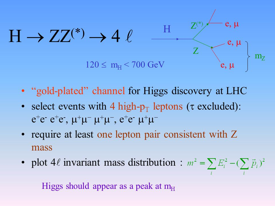 H  ZZ (*)  4 gold-plated channel for Higgs discovery at LHC select events with 4 high-p T leptons (  excluded): e + e - e + e -,          e + e -     require at least one lepton pair consistent with Z mass plot 4 invariant mass distribution : H Z (*) Z e,  mZmZ 120  m H < 700 GeV Higgs should appear as a peak at m H