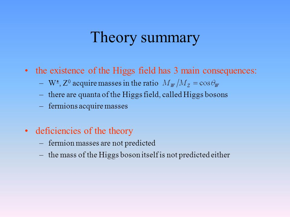 Theory summary the existence of the Higgs field has 3 main consequences: –W , Z 0 acquire masses in the ratio –there are quanta of the Higgs field, called Higgs bosons –fermions acquire masses deficiencies of the theory –fermion masses are not predicted –the mass of the Higgs boson itself is not predicted either