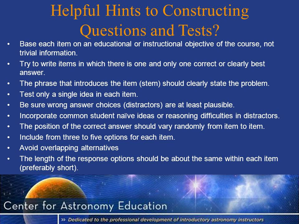 Helpful Hints to Constructing Questions and Tests.