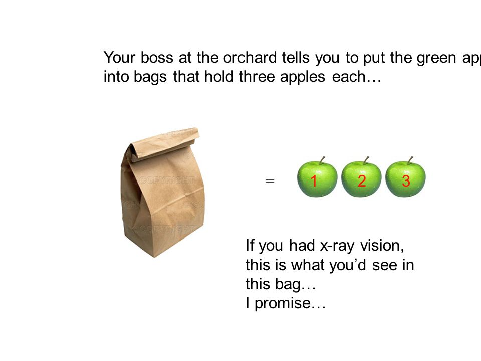 How would you figure out how many bags you would need for the 27 apples.