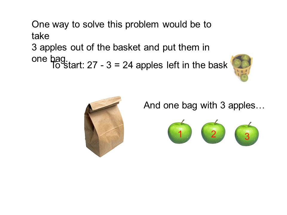 100 red bags 100 blue bags 50 green bags 7 purple bags = 257 bags in all 300 apples 150 apples 21 apples apples in all Let's count our apples… 771