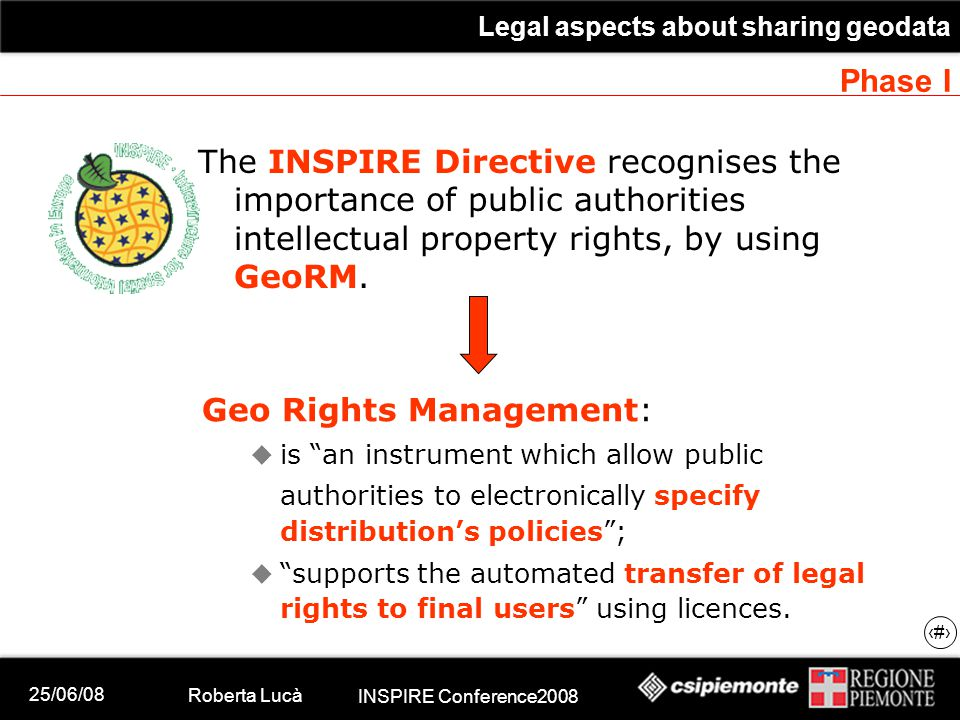 25/06/08 Roberta Lucà INSPIRE Conference2008 Legal aspects about sharing geodata 9 Phase I The INSPIRE Directive recognises the importance of public authorities intellectual property rights, by using GeoRM.