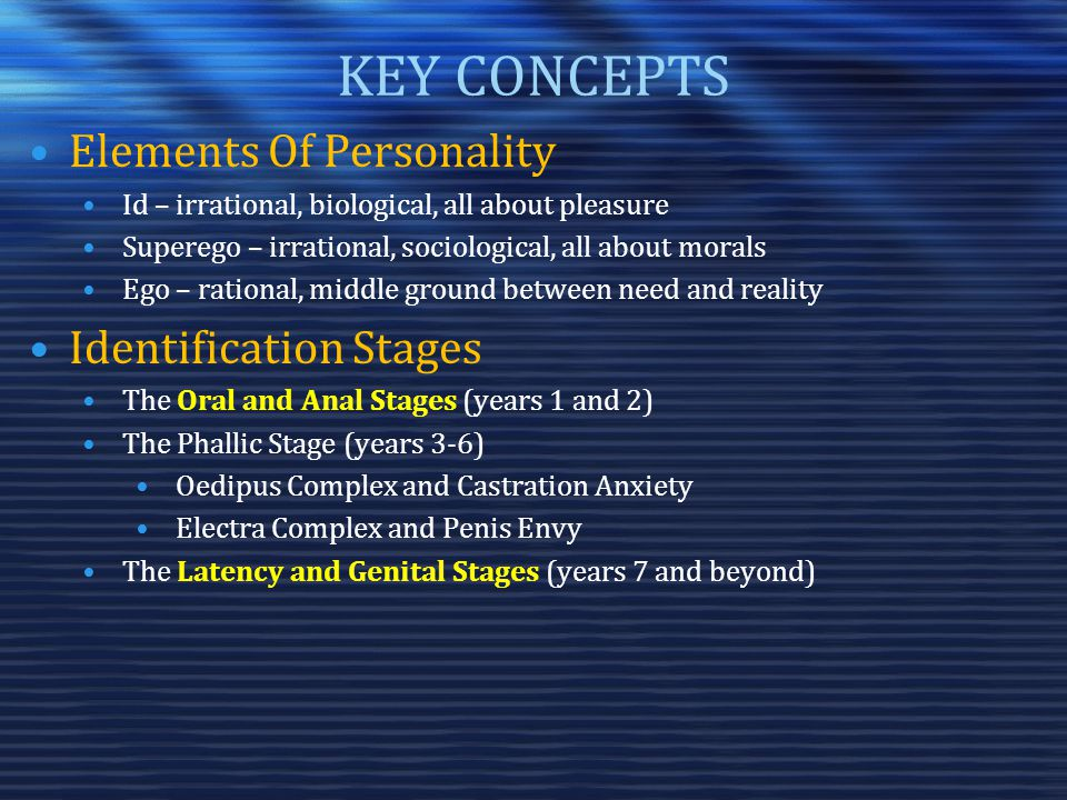 KEY CONCEPTS Elements Of Personality Id – irrational, biological, all about pleasure Superego – irrational, sociological, all about morals Ego – rational, middle ground between need and reality Identification Stages The Oral and Anal Stages (years 1 and 2) The Phallic Stage (years 3-6) Oedipus Complex and Castration Anxiety Electra Complex and Penis Envy The Latency and Genital Stages (years 7 and beyond)