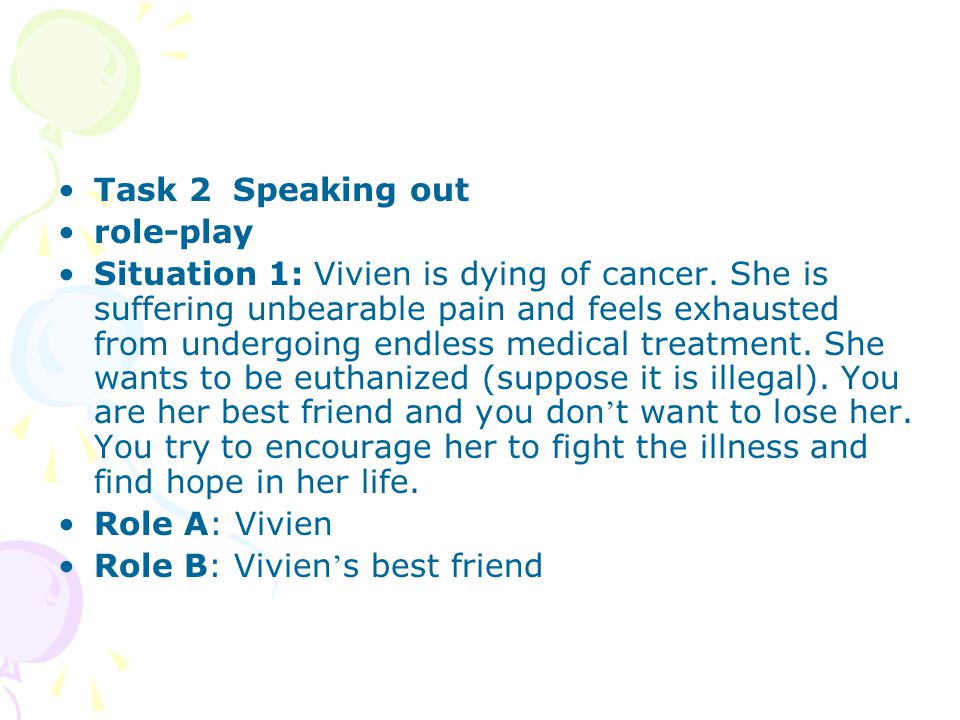 Task 2 Speaking out role-play Situation 1: Vivien is dying of cancer.