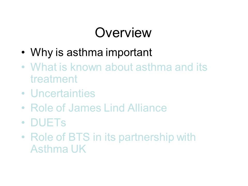 Key Facts 5.2m people in the UK are currently receiving treatment for asthma: 1 in 12 adults & 1 in 10 children 4 out of 5 people with asthma in the UK suffer symptoms needlessly 2.6 million people in the UK suffer from severe asthma symptoms that impact significantly on their daily lives